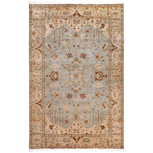 Adana Light Blue and Tan Rectangular: 5 Ft. 6 In. x 8 Ft. 6 In. Rug