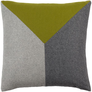 Jonah Gray and Lime 20-Inch Pillow with Down Fill