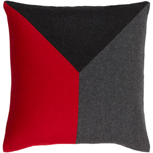 Jonah Cherry and Black 20-Inch Pillow with Poly Fill