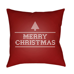 Red Merry Christmas III 20-Inch Throw Pillow with Poly Fill