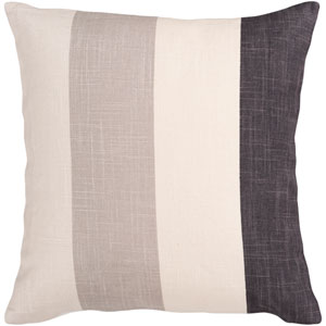 Ivory, Coal Black, Sand Dollar and Taupe Striped 18 x 18 Pillow