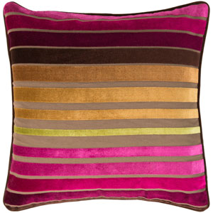 Velvet Stripe Pink and Brown 18-Inch Pillow Cover