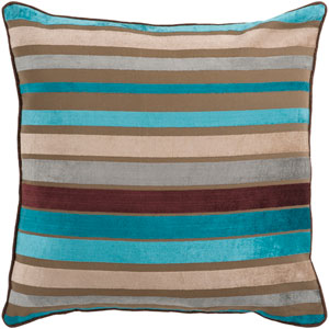 Ocean Blue and Multi Colored Striped 18 x 18 Pillow