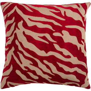 Velvet Zebra Brown and Red 22-Inch Pillow Cover