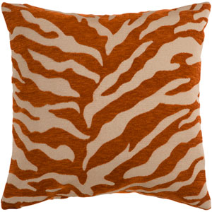 Velvet Zebra Brown and Orange 22-Inch Pillow Cover