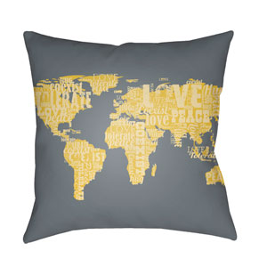Jetset Teal and Bright Yellow 22 x 22-Inch Pillow