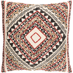 Kazinga Red and Brown 18-Inch Pillow with Poly Fill