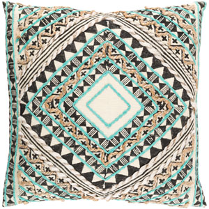 Kazinga Green and Brown 20-Inch Pillow with Poly Fill