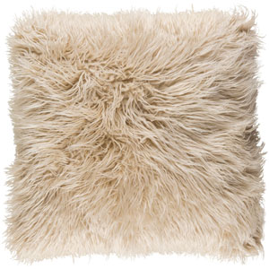Kharaa Brown 22-Inch Pillow with Poly Fill