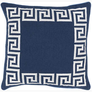 Keeper of the Keys Navy and Ivory 22-Inch Pillow with Poly Fill