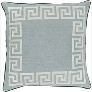 Keeper of the Keys Moss and Light Gray 22-Inch Pillow with Down Fill