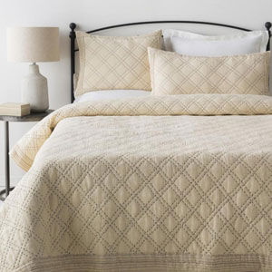 Kojo Cream and Charcoal Twin Two-Piece Quilt Set