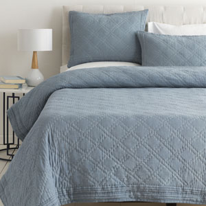 Kojo Denim and White Twin Two-Piece Quilt Set