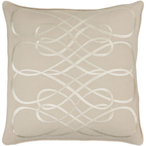 Leah Beige 20-Inch Pillow with Poly Fill