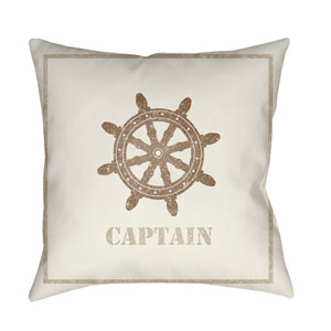 Captain Beige and Brown 18 x 18-Inch Throw Pillow