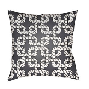 Rope II Black and White 18 x 18-Inch Throw Pillow