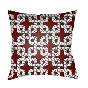 Rope II Red and White 18 x 18-Inch Throw Pillow