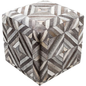 Lycaon Neutral and Brown Cube Pouf