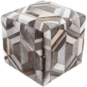 Lycaon Gray and Brown Cube Pouf