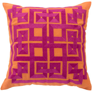 Burnt Orange and Raspberry Down Filled 22 x 22  Pillow