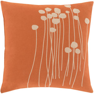 Blooming Buds Coral and Beige 18-Inch Pillow with Poly Fill