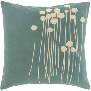 Blooming Buds Sea Foam and Beige 22-Inch Pillow with Poly Fill