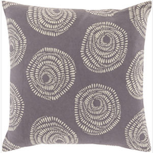 Pocketful of Posies Charcoal and Ivory 20-Inch Pillow with Down Fill