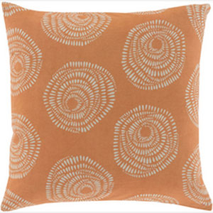 Pocketful of Posies Burnt Orange and Light Gray 18-Inch Pillow with Poly Fill