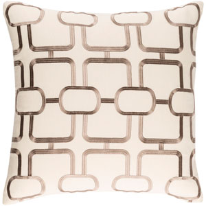 Lockhart Khaki and Taupe 18 x 18 In. Throw Pillow