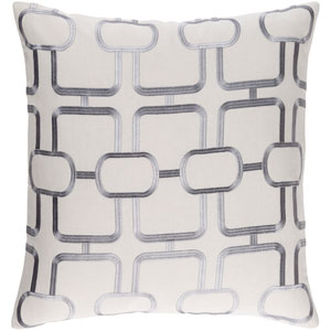 Lockhart Light Gray and Denim 18 x 18 In. Throw Pillow