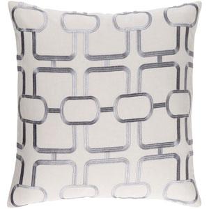 Lockhart Light Gray and Denim 22 x 22 In. Throw Pillow