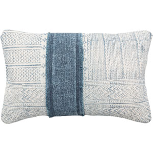 Lola Neutral and Blue 22-Inch x 14-Inch Pillow Cover