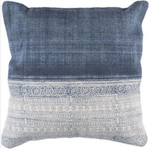 Lola Ivory and Navy 20-Inch Pillow with Down Fill