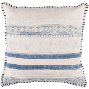 Lola Neutral and Blue 20-Inch Pillow Cover