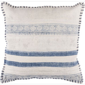 Lola Ivory and Navy 20-Inch Pillow with Poly Fill