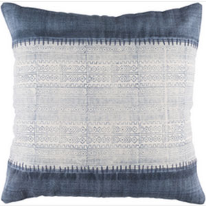 Lola Ivory and Navy 30-Inch Pillow with Down Fill