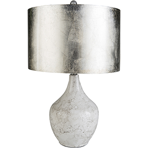 Leland Ivory One-Light Table Lamp with Silver Shade