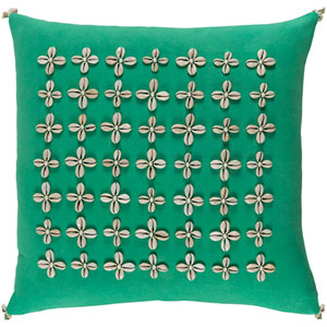 Lelei Green and Neutral 18-Inch Pillow with Down Fill