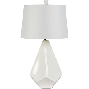 Marvelous Silver One Light Table Lamp with White Faux Silk Shade