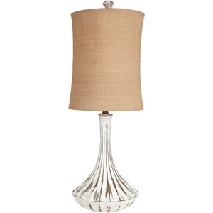 Luxurious Bronze One Light Table Lamp with Burlap Shade
