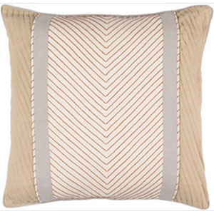 Leona Beige and Rust 20-Inch Pillow with Poly Fill