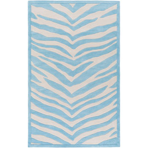 Leap Frog Blue and Neutral Rectangular: 2 Ft x 3 Ft Rug