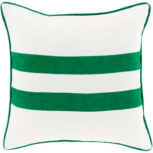 Linen Stripe Kelly Green and Ivory 22-Inch Pillow with Down Fill