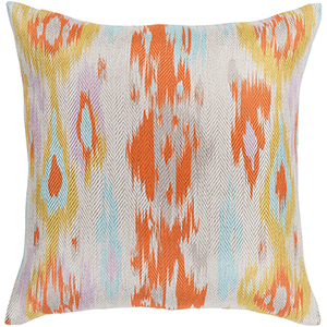 Liberty Orange and Aqua 18 In. x 18 In. Pillow with Down Insert