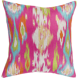 Liberty Bright Pink and Aqua 18 In. x 18 In. Pillow with Polyester Insert