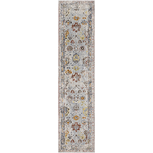 Liverpool Grey and Beige Runner: 2 Ft. 7 In. x 10 Ft. 3 In. Rug