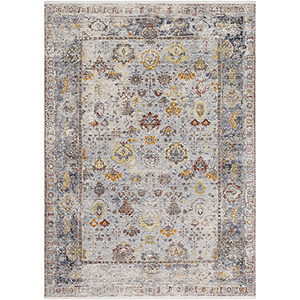 Liverpool Grey and Beige Rectangular: 3 Ft. 11 In. x 5 Ft. 7 In. Rug