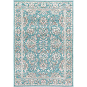 Mavrick Teal and Gray Rectangular: 2 Ft 2 In x 4 Ft Rug