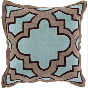 Modern Maze Teal and Taupe 18-Inch Pillow with Down Fill