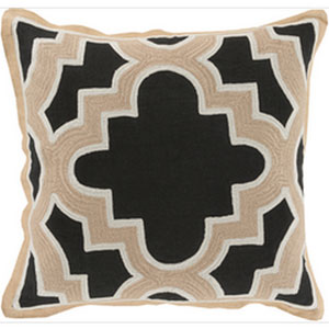 Modern Maze Black and Beige 20-Inch Pillow with Poly Fill